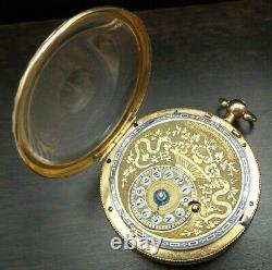 Antique 18th/19th Century European 18K Gold & Enamel Verge Fusee Pocket Watch