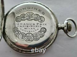 Antique 1900 Longines Full Hunter 0.900 Solid Silver Pocket Watch VGC Rare