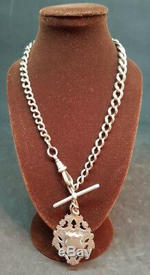 Antique 1900's Solid Silver Pocket Watch Chain & Fob 37 G