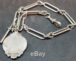 Antique 1900's Solid Silver Pocket Watch Chain & Fob 39 G