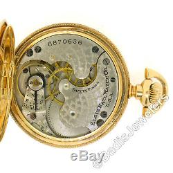 Antique 1900s Elgin 0s 7j Pocket Watch Engraved 14k Multi Color Gold Hunter Case