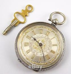 Antique 1900s Swiss Silver Pocket Watch Fancy Silver Applied Gold Dial Temperal