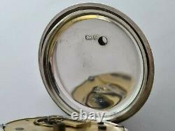 Antique 1901 H. Samuel 18S Solid Silver Pocket Watch + Chain Working VGC Rare