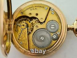 Antique 1903 Elgin USA 16s Full Hunter Gold Plated Pocket Watch Working Rare