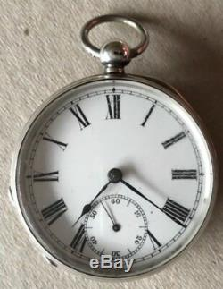 Antique 1905 Am Watch Co Solid silver Half Hunter Pocket Watch With Fob & Key