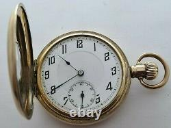 Antique 1905 Swiss Half Hunter 9ct Gold Plated Pocket Watch Requires Service