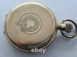 Antique 1905 Thomas Russell and Son Hunter Gold Plated Pocket Watch VGC Rare