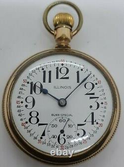 Antique 1906 ILLINOIS Bunn Special 21J Montgomery Dial Railroad RR Pocket Watch