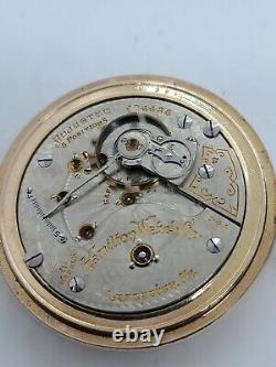 Antique 1907 HAMILTON 944 Gold GF 19J Railroad RR Gents Pocket Watch with Chain