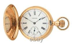 Antique 1908 Waltham Seaside 6S Multi-color 14k Gold Hunter Pocket Watch with Stag