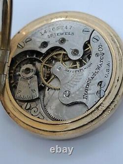 Antique 1910 ELGIN Ladies 15J Gold G. F. Victorian Full Hunter Pocket Watch 6s