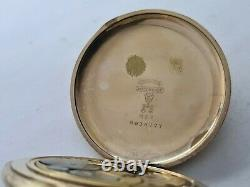 Antique 1910 Elgin U. S. A Full Hunter Gold Plated Pocket Watch Working Rare