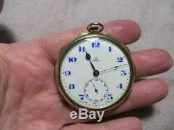 Antique 1910's OMEGA 17 Jewel Gold Filled Pocket Watch withBlue Dial Running
