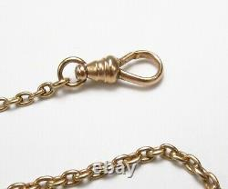 Antique 1920s Signed 14K Yellow Gold Cable Link Pocket Watch Chain 15 L As-Is