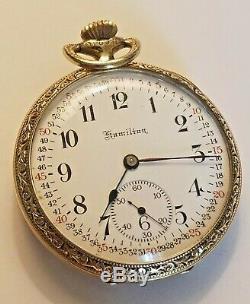 Antique 1923 Hamilton Pocket Watch / Size 12 / 23 JEWELS / 10k Gold Filled Case