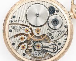 Antique 1926 South Bend 16s 21j Adj. Studebaker Pocket Watch from Estate! Runs