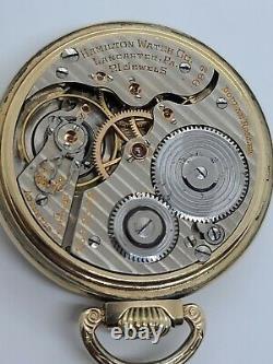 Antique 1928 HAMILTON 21J Railroad Grade 992 10K R. G. P. Gold RR Pocket Watch 16s