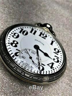 Antique 1928 Illinois Bunn Special 60 Hour 16s 21J 14K White G. F. Pocket Watch