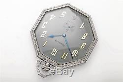 Antique 1940s RETRO OCTOGON Platinum Tiffany & Co PocketWatch 53g