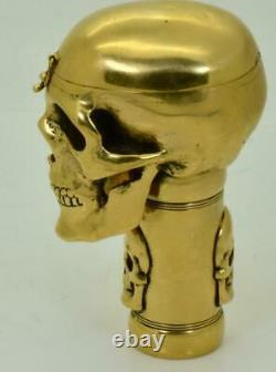 Antique 19th C. French Masonic Skull Verge Fusee cane holder with integrated watch