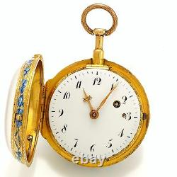 Antique 20k Rose Gold Quarter Hour Repeater Verge Fusee Pocket Watch C1751