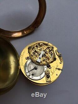 Antique 22ct Gold Fusee Verge Portrait Enamel Scene Pocket Watch C. 1740