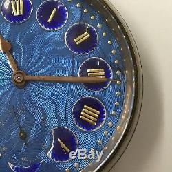 Antique 8 Day Goliath Pocket Watch Working Blue Enamel Face C 1900 Cracked Face