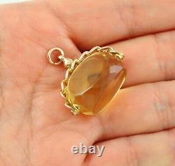 Antique 9Ct Gold And Genuine Yellow Topaz Swivel / Spinner Fob / Pendant
