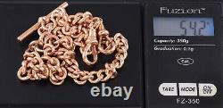 Antique 9Ct Rose Gold Double Albert Watch Chain, Chester c 1912, 54.2grams