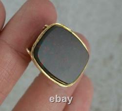 Antique 9 Carat Gold Bloodstone Pocket Watch Fob Seal Pendant