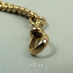 Antique 9 Ct Rose Gold Double Clip Kerb Link Pocket Watch Albert Chain C. 1900