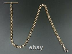 Antique 9 Ct Rose Gold Pocket Watch Albert Curb Link Chain C. 1910 31.7 Grams