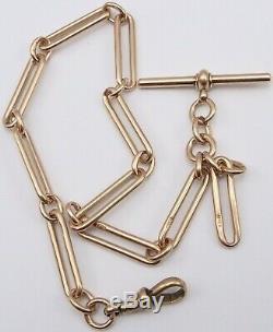 Antique 9 carat hallmarked rose gold pocket watch albert guard chain 30.5 grams
