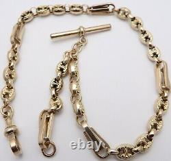 Antique 9 carat rose gold fancy pocket watch albert guard chain 18.4 grams