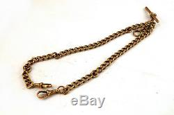 Antique 9ct 9K Rose Gold Double Clip Albert Pocket Watch Chain 35.5g 15 ins