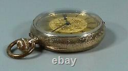 Antique 9ct Gold Ladies Top Wind Pocket Watch