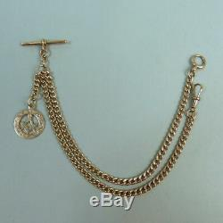 Antique 9ct Rose Gold Double Clip Kerb Link Pocket Watch Chain & Masonic Fob