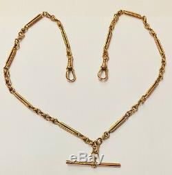 Antique 9ct Rose Gold Fancy Link Double Albert Chain Circa 1900 31.1g