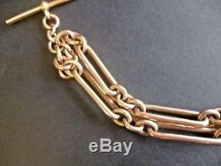 Antique 9ct Rose gold pocket watch Double albert chain