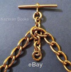 Antique 9ct Solid Gold Double Fob Pocket Watch Albert Chain 1918 Floating T Bar