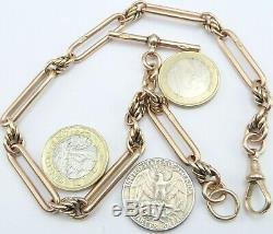Antique 9ct rose gold fancy pocket watch albert guard chain. Weight 43.6 grams