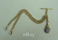 Antique 9k Gold Double Clip Kerb Link Pocket Watch Albert Chain &swivel Fob 1900