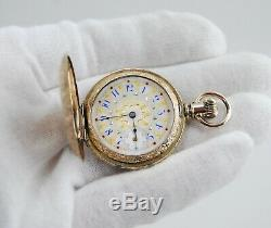 Antique AMERICAN WALTHAM Women's Pocket Watch with FANCY DIAL Serviced & Working