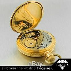 Antique A W Co Waltham J9804 Solid 18k Yellow Gold Pocket Hunter Watch 52mm
