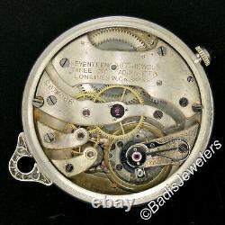 Antique Art Deco Platinum Longines 17j Diamond Bezel Blue Pendant Pocket Watch