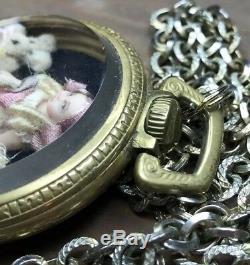 Antique Art Doll Display Case Pocket Watch Train Cathy Hansen Miniature Bisque