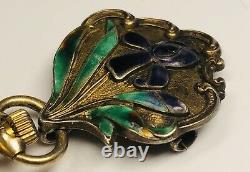 Antique Art Nouveau Enamel on Sterling Silver Pocket Watch Pin 2.5