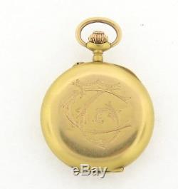 Antique Art Nouveau Ladies French Cherubs Diamond Pendant Watch 18k Yellow Gold