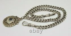 Antique Beautiful Solid Silver Albert Pocket Watch Chain With Fob 50.8 G