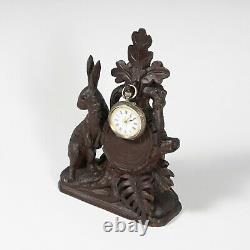 Antique Black Forest Hand Carved Wood Pocket Watch Holder Display Stand, Rabbit